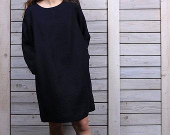 Casual linen dress / Linen mini dress / Linen dress with long sleeves / deep night blue