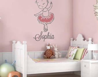 Cute Ballerina With Name Wall Sticker Decal Art