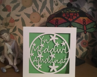 Yn Meddwl Amdanat - Thinking Of You - Welsh Language Card - Papercut  - Decorated with Flowers