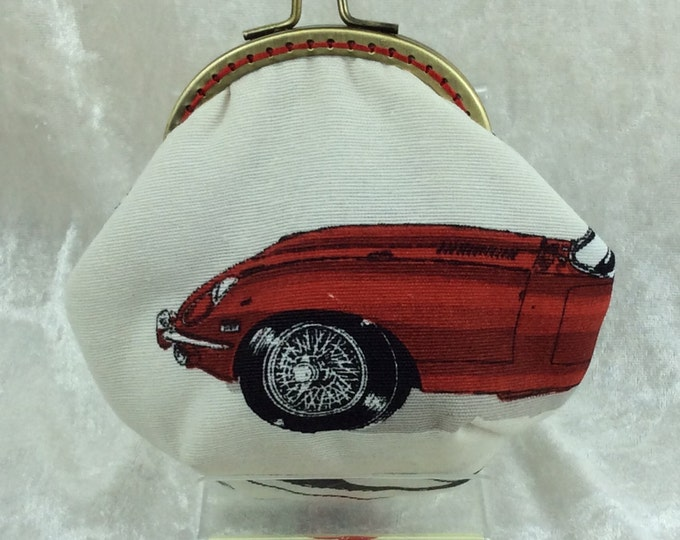 Jaguar E-Type Amy frame coin purse wallet hand stitched handmade in England