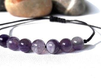 Amethyst Bracelet, Amethyst Jewelry, Wish Bracelet, Purple Bracelet, Chakra Bracelet, Crown Chakra, Crystal Healing, Yoga Bracelet, Gemstone