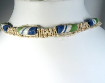 Handmade Flat Hemp Choker Necklace with Blue and Green Sandcast Beads