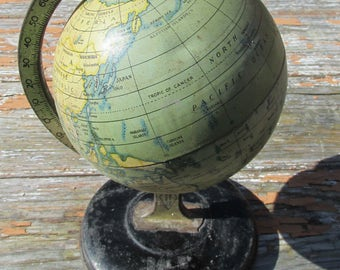 Vintage 1930s Reliable Series Tin Desk Top Globe