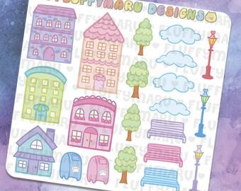 Village Deco Sticker Set || Planner Stickers, Cute Stickers for Erin Condren (ECLP), Filofax, Kikki K, Etc. || DS23
