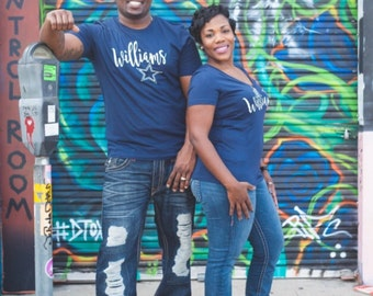 Wifey and Hubby Shirts, Front and Rear Text Cowboys Shirts, Pair, Husband and Wife Shirts, Engagement, Wedding Gift, Honeymoon, Just Married