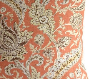 Jacobean Pillow, French Country Throw Pillow, Orange Brown Zippered Cushion Cover Cottage Floral Accent Pillow, Farmhouse Decor Chair Lumbar