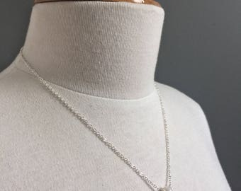 Delicate Fresh Water Pearl Necklace on Sterling Silver Fine Chain, Simple Minimalist Bridal Pearl Necklace, Off White and Silver Necklace