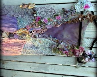 pretty woman's jacket, lavender pink lace and flowers vintage findings crochet handmade one of a kind art to wear wearable art gardenfairy
