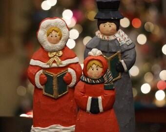 Vintage Wooden Christmas Carolers/ Set of 3 Victorian Carolers/ Christmas Decorations/ Retro Christmas decorations/ Dickens Christmas