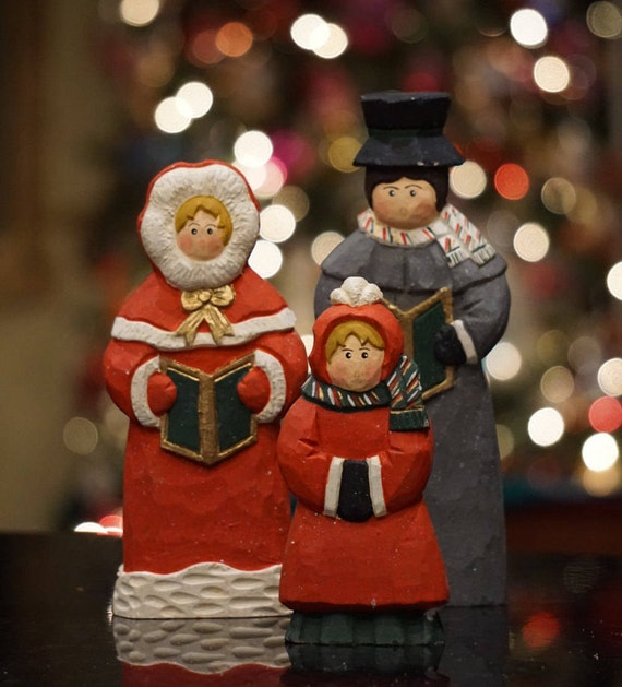 Vintage Wooden Christmas Carolers Set Of 3 Victorian