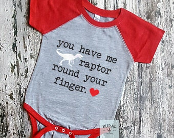 You Have Me Raptor Round Your Finger | Baby Boy Valentine Outfit, Baby Valentines Day Outfit, First Valentine, Boy Valentine, Valentines Day