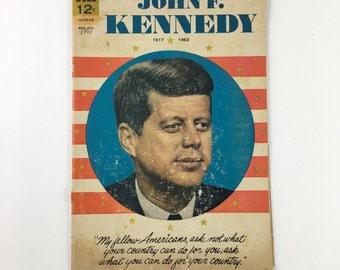 Vintage John F. Kennedy comic book, vintage JFK comic, 1964 JFK comic book, Dell comics, JFK biography, Aug-Oct 1964 comic