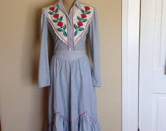 Vintage Salaminder  Blue and White Striped Western Wear 2 Piece Shirt and Skirt set with appliqué flowers and leaves. 1970s, Cutter Bills