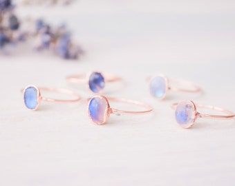 Moonstone ring - Rainbow Moonstone ring - Moonstone cabochon ring - Gemstone ring - Birthstone ring - Organic stone ring - Boho ring