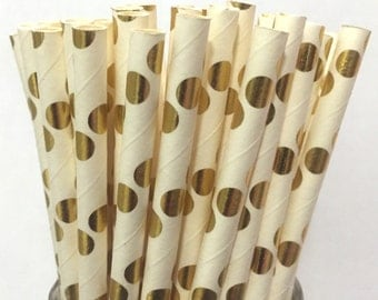 2.85 US Shipping -Gold Foil Paper Straws  -  Gold Straws- Cake Pop Sticks - Drinking Straws - New Years Eve Straws