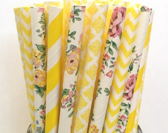 2.85 US Shipping -Yellow Floral Paper Straws  -  Yellow Floral Straws- Cake Pop Sticks