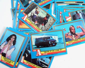 "Set of 42 vintage ""The A-Team"" collector cards - 1980s tv shows, 80s, collectible, Mr. T, B.A. Baracus, 1983"