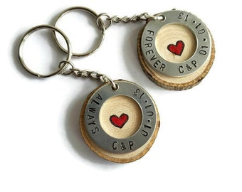 custom couples keychains, always and forever keychains, couples keychains, couples gift set, matching keychains, anniversary gift, valentine