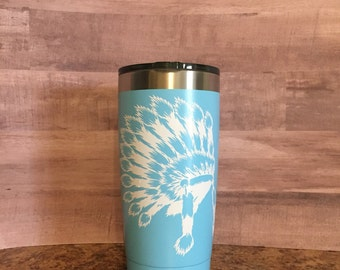 Indian headdress tumbler|Native american headdress tumbler|Stainless steel tumbler|Gifts for her|Gifts for him|Personalized tumbler