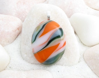 Fused glass pendant, orange pendant, green pendant, oval pendant, orange necklace, green necklace