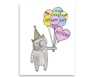 Happy Birthday Cat Card / Happy Birthday Card / Cat Card / Cute Cat Card/ Blank Card / Mishka Marie Art