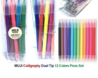 Set 12 Colors MUJI Calligraphy Dual Tip Pen