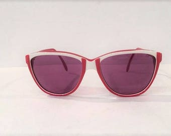 Vintage Tura Ladies Cateye Sunglasses Frames, New Old Stock, Vintage Tura Cat Eye Sunglasses Model 622, NOS, Tura Red and White Sunglasses