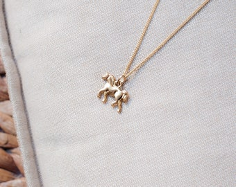 Tiny Horse Necklace Gold Plated Chain Necklace, Gold Horse Charm Necklace, Gold Plated Necklace Dainty Horse Pendant Delicate Necklace