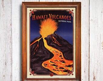 Hawaii Volcanoes poster, Hawaii Volcanoes National Park print, volcano park , Hawaii Volcanoes park print, volcano art print, hawaii poster