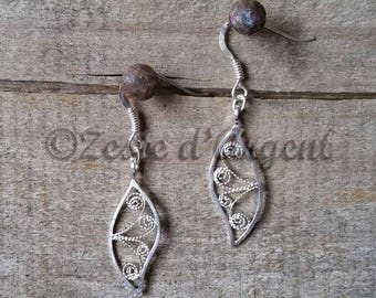 Earings, Silver Filigree Arabesques