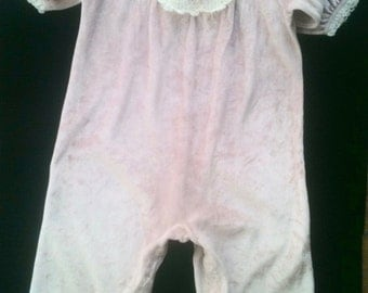 80s onesie crushed velvet 18 months with lace panel and trim gently used made in USA