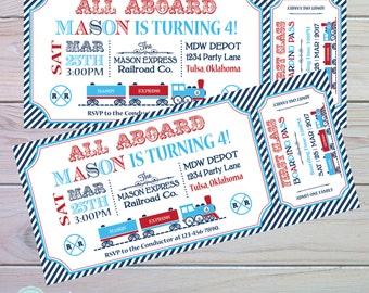 Train Ticket Invitation | Train Birthday Invitation | Train Party Invitation | Train Party Decorations | Train Theme | The Party Darling