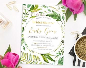 Bridal Shower Invitation Printable Bridal Shower Bridal brunch Invitation Bachelorette party Invitation Green Bridal Shower Invite idb62