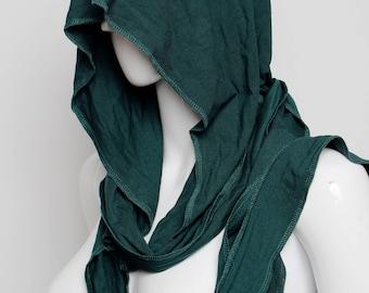 fairy hood, green hood, wizard, bohemian hood, elven hood, faery hood, hippie hood, hooded scarf, celtic hood, festival wear, burning man,