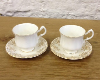 Vintage Pair Of Royal Standard Cups & Saucers Sets. Gilt Ornate Pattern And Very Good Condition.