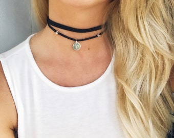 Zodiac Leather Choker, Black Leather Choker, Zodiac Choker Necklace, Sterling Silver Choker