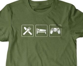Eat sleep Game T-shirt, Funny T shirt, gifts for dad,  shirt, boyfriend, husband, eat sleep shirt, Video game shirt, geek shirt, gamer