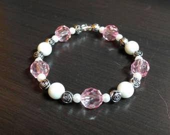 Pink Rose Pearl Bracelet
