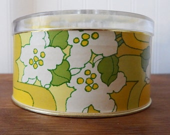 Vintage 1970s Avon 'Lemon Velvet' BEAUTY DUST 6 oz. In Green and Yellow Floral Container with Sealed Powder