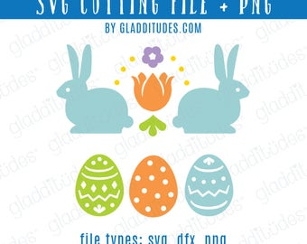 Happy Easter SVG Cutting file - bunnies and eggs