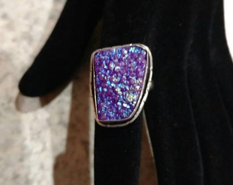 Purple Druzy Ring Size 7