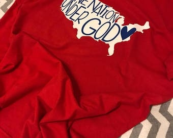 One Nation Under God Tee-T-shirt-America-Merica-In God We Trust-United States of America-USA-Home of the Brave-Land of the Free