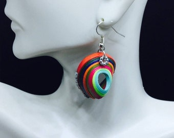 Tribal earrings,Boho,Paper Quilling,Artisan Boho jewelry,Mother's day,Graduation,Swirled colors paper quilled,Multicolored 3DPaperQuilling