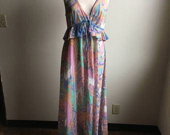 vintage 60s womens psychedelic bohemian novelty slip dress full length night gown