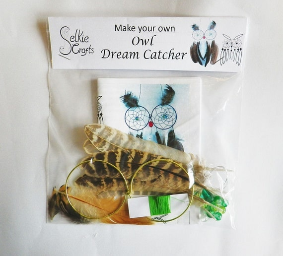 Diy kit owl dream catcher home decor dream by selkiecrafts Create your own dream home
