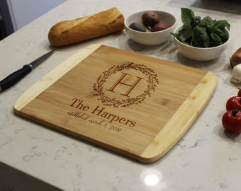 Personalized Cutting Board, Custom Cutting Board, Engraved Cutting Board, Monogrammed Cutting Board, Custom Wedding Gift --CB-BAM-HARPERS