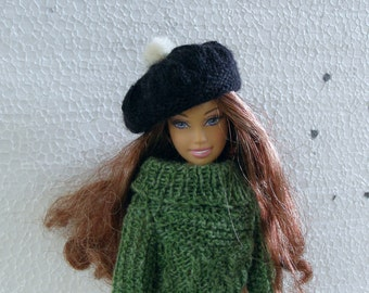 Black knit wool beret, Hand knitted tam with white pom pom, Barbie doll winter hat