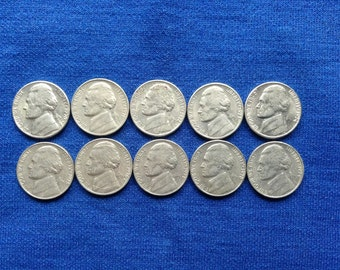 1970 - 1979 Consecutive Dates, Vintage Jefferson Nickels, Old US Coins for Coin Collecting and Jewelry Making, 5 Cent Nickel