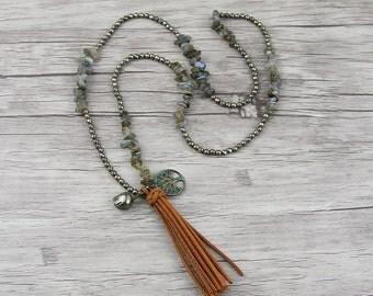 Labradorite necklace Labradorite bead necklace BOHO Suede tassel necklace Pyrite bead necklace bead tassel necklace Gemstone necklace NL-011