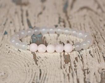rose quartz pink Fertility bracelet summer cute Love thread bracelet Quartz Jewelry clear beaded bracelet chunky gift for women bracelet